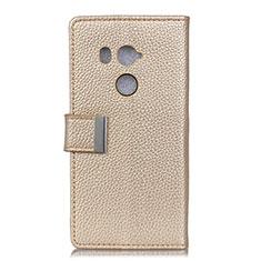 Handytasche Stand Schutzhülle Leder Hülle L02 für HTC U11 Eyes Gold