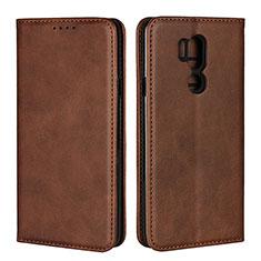 Handytasche Stand Schutzhülle Leder Hülle L02 für LG G7 Braun