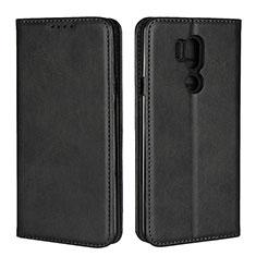 Handytasche Stand Schutzhülle Leder Hülle L02 für LG G7 Schwarz