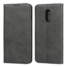 Handytasche Stand Schutzhülle Leder Hülle L02 für OnePlus 7 Schwarz