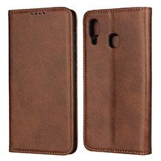 Handytasche Stand Schutzhülle Leder Hülle L02 für Samsung Galaxy A30 Braun
