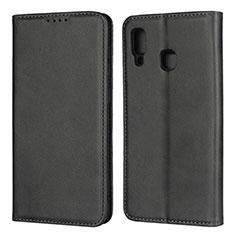 Handytasche Stand Schutzhülle Leder Hülle L02 für Samsung Galaxy A30 Schwarz
