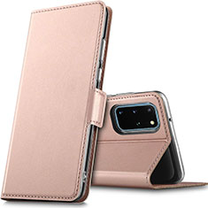Handytasche Stand Schutzhülle Leder Hülle L02 für Samsung Galaxy S20 Plus 5G Rosegold