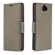 Handytasche Stand Schutzhülle Leder Hülle L02 für Sony Xperia 10 Plus Grau