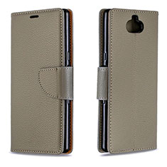 Handytasche Stand Schutzhülle Leder Hülle L02 für Sony Xperia XA3 Grau