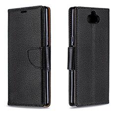 Handytasche Stand Schutzhülle Leder Hülle L02 für Sony Xperia XA3 Schwarz