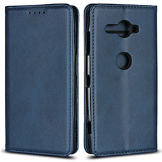 Handytasche Stand Schutzhülle Leder Hülle L02 für Sony Xperia XZ2 Compact Blau