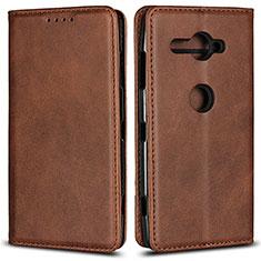 Handytasche Stand Schutzhülle Leder Hülle L02 für Sony Xperia XZ2 Compact Braun