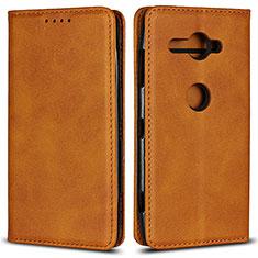 Handytasche Stand Schutzhülle Leder Hülle L02 für Sony Xperia XZ2 Compact Orange