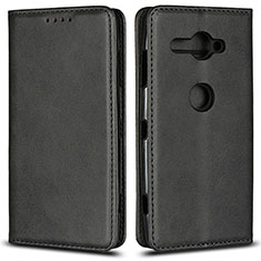 Handytasche Stand Schutzhülle Leder Hülle L02 für Sony Xperia XZ2 Compact Schwarz