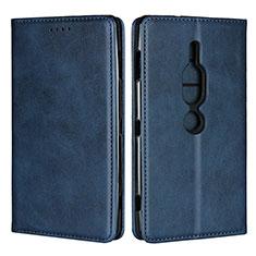 Handytasche Stand Schutzhülle Leder Hülle L02 für Sony Xperia XZ2 Premium Blau