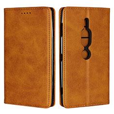 Handytasche Stand Schutzhülle Leder Hülle L02 für Sony Xperia XZ2 Premium Orange