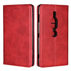 Handytasche Stand Schutzhülle Leder Hülle L02 für Sony Xperia XZ2 Premium Rot