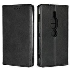 Handytasche Stand Schutzhülle Leder Hülle L02 für Sony Xperia XZ2 Premium Schwarz