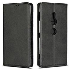 Handytasche Stand Schutzhülle Leder Hülle L02 für Sony Xperia XZ2 Schwarz