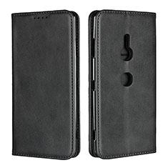 Handytasche Stand Schutzhülle Leder Hülle L02 für Sony Xperia XZ3 Schwarz