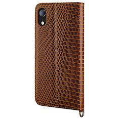 Handytasche Stand Schutzhülle Leder Hülle L03 für Apple iPhone XR Braun