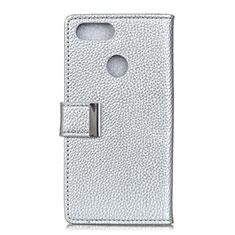 Handytasche Stand Schutzhülle Leder Hülle L03 für Asus Zenfone Max Plus M1 ZB570TL Silber