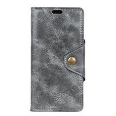 Handytasche Stand Schutzhülle Leder Hülle L03 für HTC Desire 12 Plus Grau