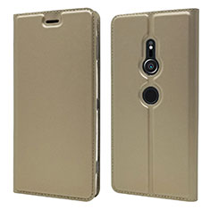 Handytasche Stand Schutzhülle Leder Hülle L03 für Sony Xperia XZ2 Gold