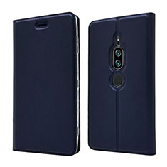 Handytasche Stand Schutzhülle Leder Hülle L03 für Sony Xperia XZ2 Premium Blau