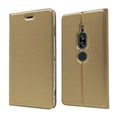 Handytasche Stand Schutzhülle Leder Hülle L03 für Sony Xperia XZ2 Premium Gold