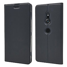 Handytasche Stand Schutzhülle Leder Hülle L03 für Sony Xperia XZ2 Schwarz