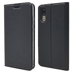 Handytasche Stand Schutzhülle Leder Hülle L04 für Huawei P20 Schwarz