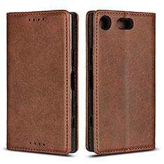 Handytasche Stand Schutzhülle Leder Hülle L04 für Sony Xperia XZ1 Compact Braun