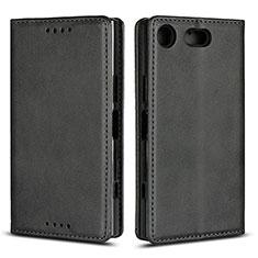 Handytasche Stand Schutzhülle Leder Hülle L04 für Sony Xperia XZ1 Compact Schwarz