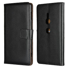 Handytasche Stand Schutzhülle Leder Hülle L04 für Sony Xperia XZ2 Schwarz