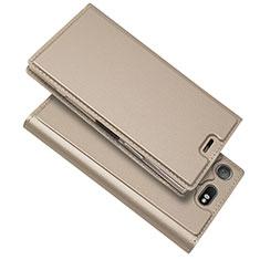 Handytasche Stand Schutzhülle Leder Hülle L05 für Sony Xperia XZ1 Compact Gold