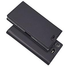 Handytasche Stand Schutzhülle Leder Hülle L05 für Sony Xperia XZ1 Compact Schwarz