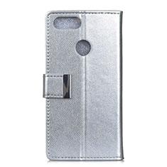 Handytasche Stand Schutzhülle Leder Hülle L06 für Asus Zenfone Max Plus M1 ZB570TL Silber