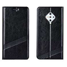 Handytasche Stand Schutzhülle Leder Hülle L06 für Vivo X50 Lite Schwarz