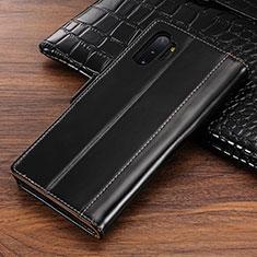 Handytasche Stand Schutzhülle Leder Hülle P01 für Samsung Galaxy Note 10 Plus Schwarz