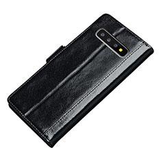 Handytasche Stand Schutzhülle Leder Hülle P01 für Samsung Galaxy S10 Schwarz