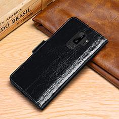 Handytasche Stand Schutzhülle Leder Hülle P01 für Samsung Galaxy S9 Plus Schwarz