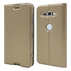 Handytasche Stand Schutzhülle Leder Hülle P01 für Sony Xperia XZ2 Compact Gold