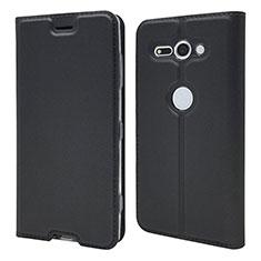 Handytasche Stand Schutzhülle Leder Hülle P01 für Sony Xperia XZ2 Compact Schwarz