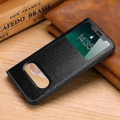Handytasche Stand Schutzhülle Leder Hülle P02 für Apple iPhone X Schwarz