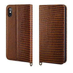 Handytasche Stand Schutzhülle Leder Hülle P03 für Apple iPhone X Braun