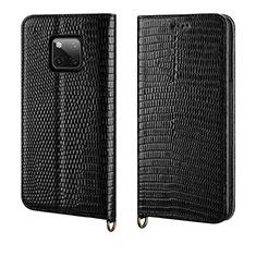 Handytasche Stand Schutzhülle Leder Hülle P04 für Huawei Mate 20 Pro Schwarz