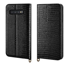 Handytasche Stand Schutzhülle Leder Hülle P04 für Samsung Galaxy S10 Plus Schwarz