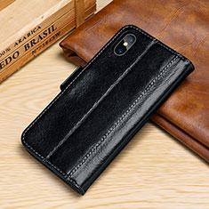 Handytasche Stand Schutzhülle Leder Hülle P05 für Apple iPhone Xs Max Schwarz