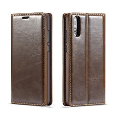 Handytasche Stand Schutzhülle Leder Hülle T01 für Huawei P20 Braun