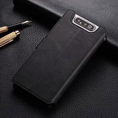 Handytasche Stand Schutzhülle Leder Hülle T01 für Samsung Galaxy A80 Schwarz