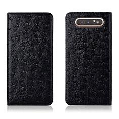 Handytasche Stand Schutzhülle Leder Hülle T04 für Samsung Galaxy A80 Schwarz