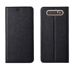 Handytasche Stand Schutzhülle Leder Hülle T05 für Samsung Galaxy A80 Schwarz
