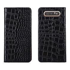 Handytasche Stand Schutzhülle Leder Hülle T06 für Samsung Galaxy A80 Schwarz